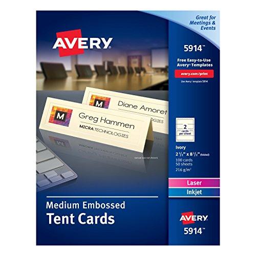 Avery Medium Embossed Ivory Tent Cards, Laser/Inkjet Printers, 2-1/2