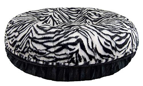 Cheap Bessie and Barnie Signature Zebra / Black Puma Extra Plush Faux Fur Bagel Pet / Dog Bed (Multiple Sizes)