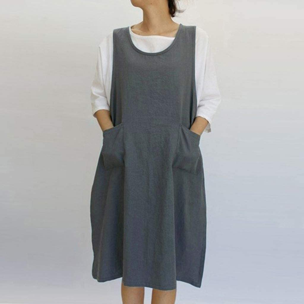 115cm Damen Mode Retro Baumwolle Leinen Schürze Bluse Koch Kleid Gute Qualität