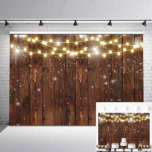 Mocsicka Rustic Wood Photography Backdrop Shinning Lights Vintage Wooden Backdrops 7x5ft Rustic Wedding Birthday Baby Shower Bridal Shower Photo Background Party Studio Props]()