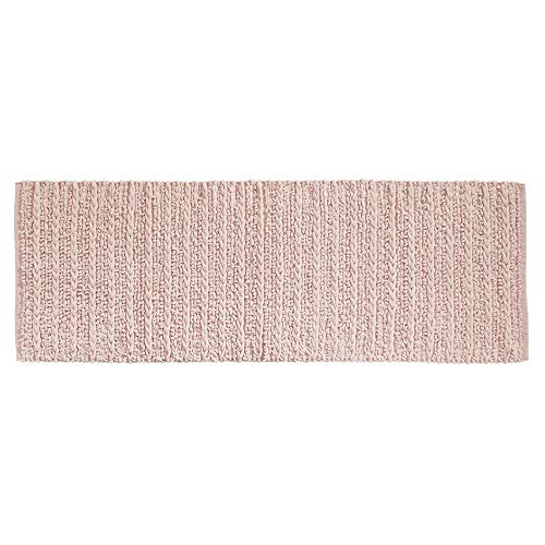 Runner Bath (mDesign Soft 100% Cotton Luxury Hotel-Style Rectangular Spa Mat Rug, Plush Water Absorbent for Bathroom Vanity, Bathtub/Shower, Machine Washable, Braided Design, Long Runner, 60