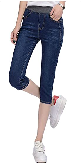 0a9eeea856d39 Lutratocro Womens Stretch Jean Washed Plus Size Simple Capri Denim Pants  Dark Blue XS