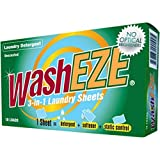 WashEZE 3 in 1 Laundry Detergent Sheets with Fabric Softener Fragrance and Phosphate Free 40 Count Package More efficient than pods pacs powders or liquids
