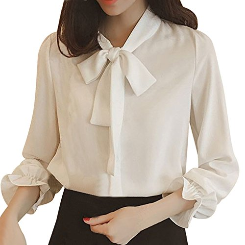 Colorblock Bow - Pervobs Women Lace-up Shirts Chiffon Solid Long Sleeve Bow Tie Elegant Workout Shirt Top Blouse Blusa(XL, Z04-White)
