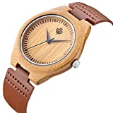 Tamlee Bamboo Wood Watch with Cow Leahter Strap Quartz Analog Unisex Wooden Wristwatch