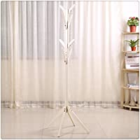 WMAOT Solid Wood Clothes Tree Floor Type Pin Rail Bedroom Simple Coat Rack Hanger (White Color)