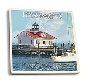 Outer Banks, North Carolina - Roanoke Marshes Lighthouse (Set of 4 Ceramic Coasters - Cork-backed, Absorbent)