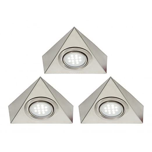 Pack of 3 triangle led under cabinet light kit with transformer pack of 3 triangle led under cabinet light kit with transformer white led aloadofball Gallery