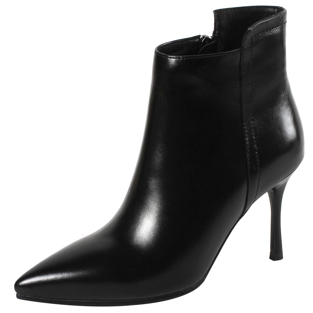 Black Eithy Women's Shacce Stiletto Ankle-high Zipper Leather Boots