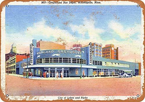 FemiaD 8 X 12 Vintage Look Metal Sign - 1936 Greyhound Bus Depot Minneapolis ()