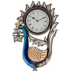 Purpledip Traditional Rajasthani Peacock Shaped Wooden Designer Wall Clock 12x18 Inch (10106)