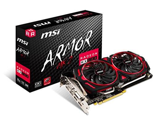 MSI AMD Radeon RX 580 ARMOR MK2 OC 8G GDDR5 PCI Express 3.0 Graphics Card Black/Red R580AR28C