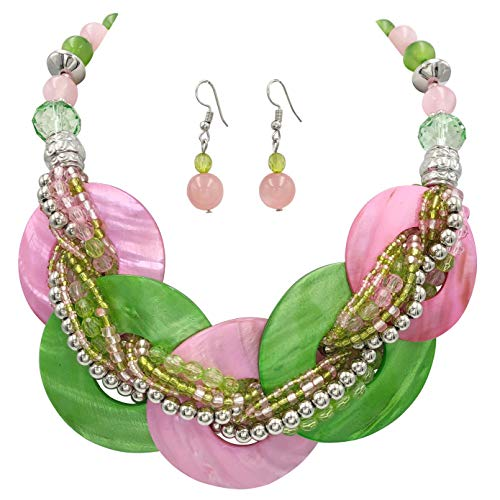 Multi Color Beach Look Nautical Boutique Style Statement Necklace & Dangle Earrings Set (Pink & Green Shell Rings)