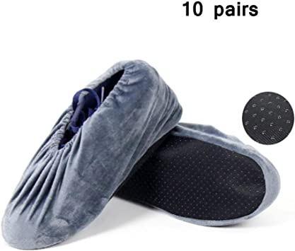 2 Pair Non Slip Flannel Washable Reusable Shoe Covers For Household Workshop