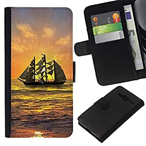 All Phone Most Case / Oferta Especial Cáscara Funda de cuero Monedero Cubierta de proteccion Caso / Wallet Case for Samsung Galaxy Core Prime // Ship Sailing Sunset Sea Ocean Sky Waves