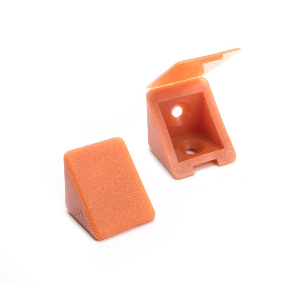 80 x Conector de muebles/conector angular con tapa | Sossai BT1, 4 agujeros | Color: calvados | Material: plá stico 4 agujeros | Color: calvados | Material: plástico