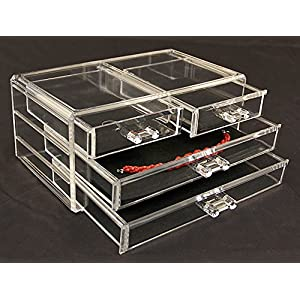 Estilo 100% Pure Acrylic Cosmetic and Jewelry Organizer, Storage Display Box