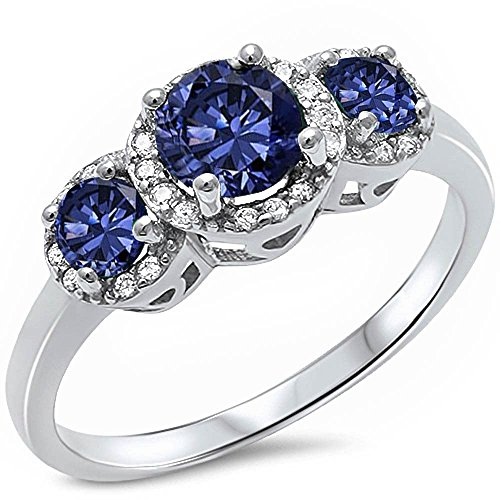 3 Round Simulated Tanzanite & Cz Fashion .925 Sterling Silver Ring - Size 6 Colored Stone Ring