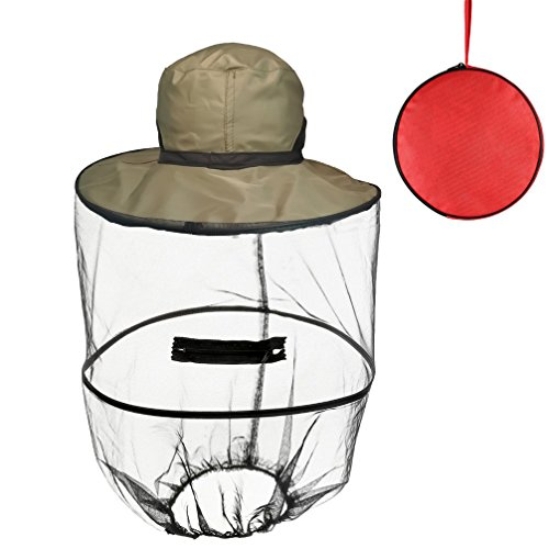 Luwint Mosquito Head Net Hat - Bug Repellent Mesh Fishing Cap with Storage Bag for Sun Protection Gardening Camping Hiking (Olive Green)