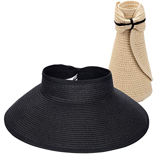 Maylisacc 2 Pack Wide-Brimmed Sun Protection Straw Visor Hats for Women Foldable Black&Beige
