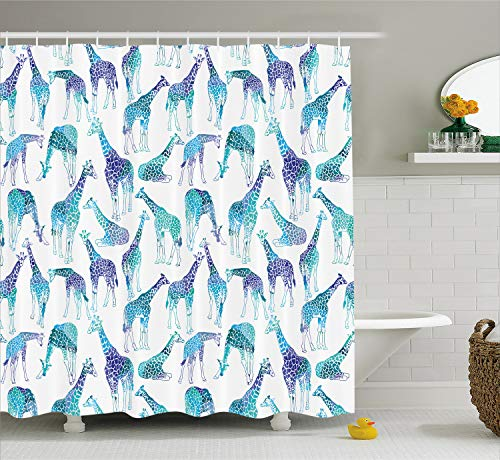 Giraffe Sitting (Lunarable Giraffe Shower Curtain, Abstract Animal Various Poses Sitting Eating Walking African Inspiration, Fabric Bathroom Decor Set with Hooks, 70 Inches, Teal Blue)