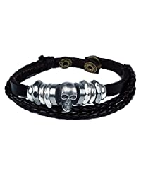 BODYA dark Braided pu Leather Bracelet Triple Band Skull charm Wrap Bracelet Womens Girls mens Wristband Bracelets