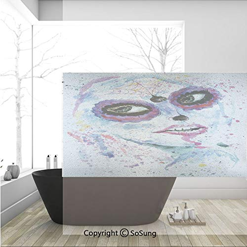 3D Decorative Privacy Window Films,Grunge Halloween Lady with Sugar Skull Make Up Creepy Dead Face Gothic Woman Artsy,No-Glue Self Static Cling Glass film for Home Bedroom Bathroom Kitchen Office -