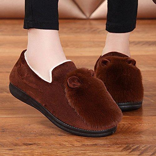 Cómodo Zapatos Planos de Otoño e Invierno Zapatillas de Algodón de Las Señoras de Moda Gruesa Caliente Zapatos de Interior Zapatos Cálidos Mensuales 4 Colores Opcional Tamaño Opcional Aumentado ( Colo D