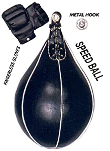 Heavy Duty Speed Ball Punching Bag + Gloves + Hook + New