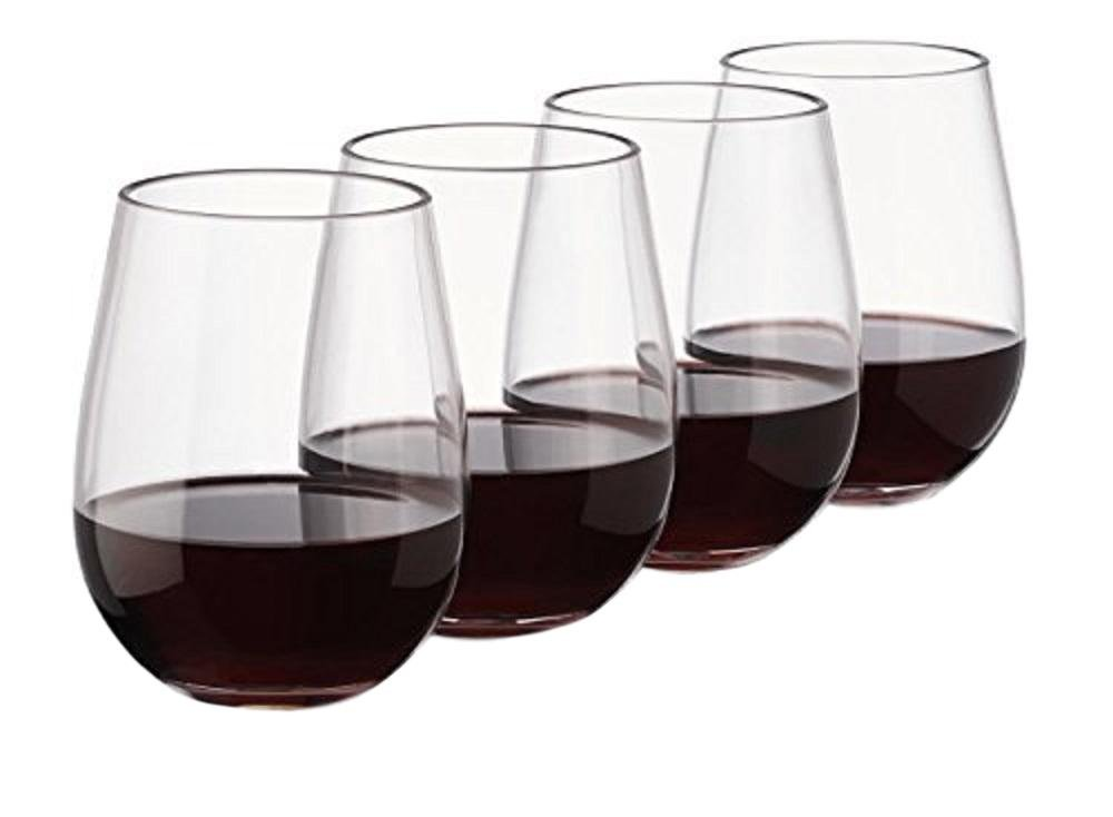 Unbreakable Plastic Wine Glass | Set of 4 | Stemless | Elegant Transparent Glasses | Made from Tritan Material | Perfect Accessory for Holiday Parties, Camping, Picnics or Poolside Lounging