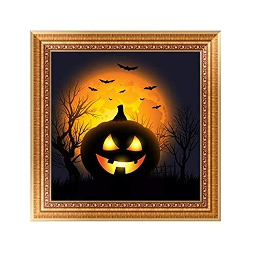 Diamond Embroidery Clearance, 5D DIY Halloween Diamond Painting Pumpkin Cross Craft Stitch Home Decor Art (B)
