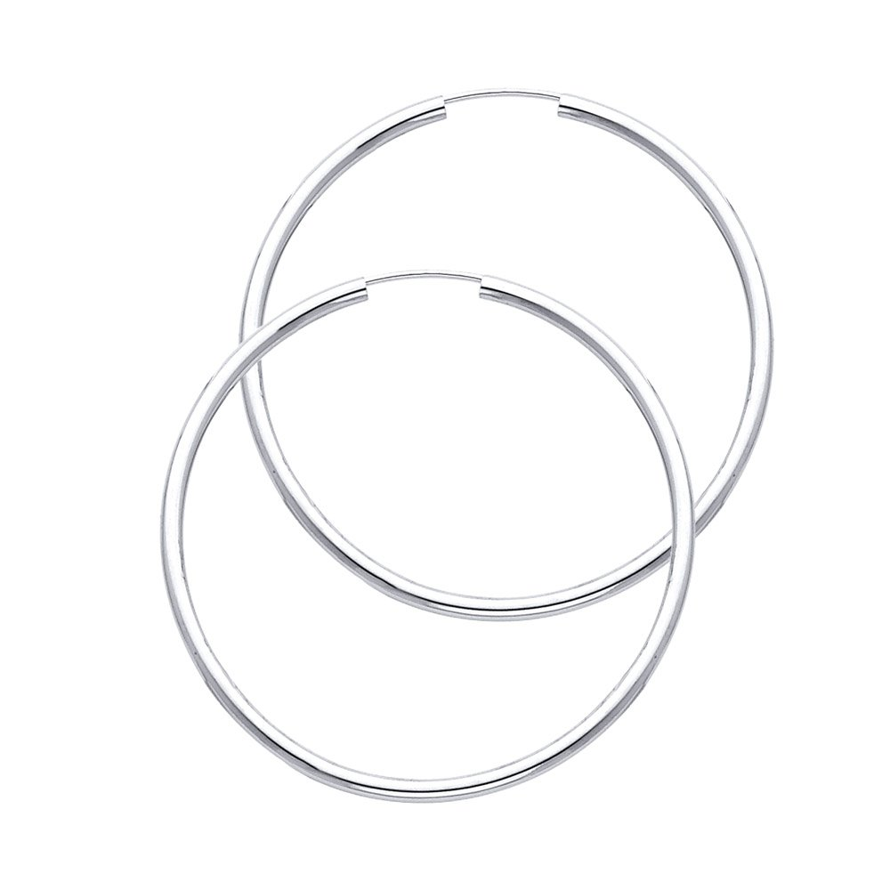 14k White Gold 2mm Thickness Endless Hoop Earrings (35 x 35 mm)