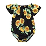 Geetobby New Baby Girls Romper Short-Sleeved Flower Print Hooded Jumpsuit Infant