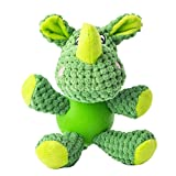 Puppy Toys for Small Dog Squeaky with Rubber Ball Body Green