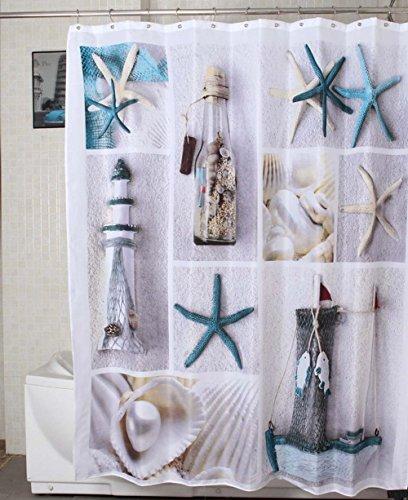 Jibin Bong Morning Sunshine 72 X Inch Nautical Shower Curtains Sea World Starfish Shell
