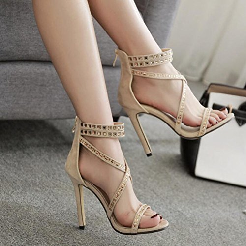 Roman Women Suede Spring Wedding Shoes Black High GAOLIXIA Apricot Court Sandals Cross Ladies Straps Ankle Strap Apricot Rhinestone Summer Pumps Heels Party dAXqxxt