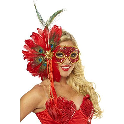 Women's Spanish Peacock Feather Eye Mask (Crazy Masks For Sale)