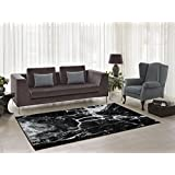 "Ladole Rugs Anise Black White Area Rug in Watercolour Abstract Pattern Contemporary Modern Area Rug (3'9"" x 5'5"")"
