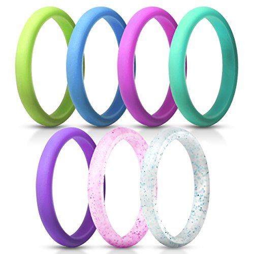 ThunderFit Women's Thin and Stackable Silicone Rings Wedding Bands - 7 Pack (Deep Pink, Purple, Blue, Lawn Green, Turquoise, Turquoise Glitter, and Red Glitter, 6.5-7 ()