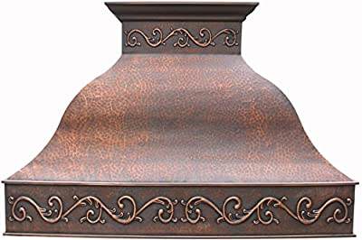 Copper Range Hood Cover with Commercial Grade Stainless Steel Vent, Inlcudes Fan Motor, Light, and Baffle Filter, Elegant Design with Custom Hand Embossed Patterms Wall Mount 30 x 30 inches