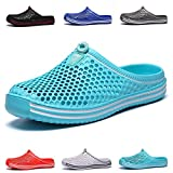 HMAIBO Garden Clogs Shoes Women's Men's Lightweight Breathable Mesh Sandals Quick Drying Beach Pool Water Shoes Anti-Slip Slippers Non-Slip Walking Footwear Cyan 38