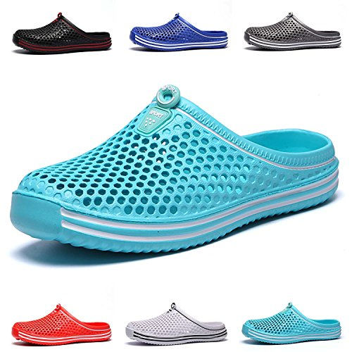 HMAIBO Garden Clogs Shoes Women's Men's Lightweight Breathable Mesh Sandals Quick Drying Beach Pool Water Shoes Anti-Slip Slippers Non-Slip Walking Footwear Cyan 44