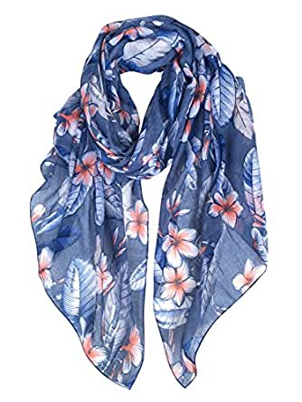 GERINLY Lightweight Scarves: Fashion Flowers Print Shawl Wrap For Women (Denim)