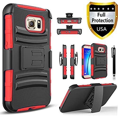 Galaxy S8 Edge Case, Dual Layers [Combo Holster] Case And Built-In Kickstand Bundled with Hybird Shockproof And Circlemalls Stylus Pen[Red] Sales
