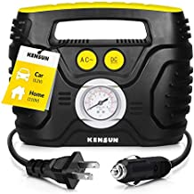 Kensun 4333087805 Compact Portable Air Compressor Pump 12V Home 110V Swift Performance Tire Inflator 120 PSI for Car-Bicycle-Motorcycle-Basketball and Others with Analog Pressure Gauge (AC/DC)
