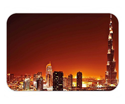 Minicoso Doormat Landscape Arabic Dubai Downtown with Cityscape Skyscrapers Sunset Middle East City Photo - Dubai Tiffany