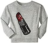 Little Marc Jacobs Girls' Glittered Lipstick Patch Sweatshirt (Little), Gris Chine, 8 (Big Kids)