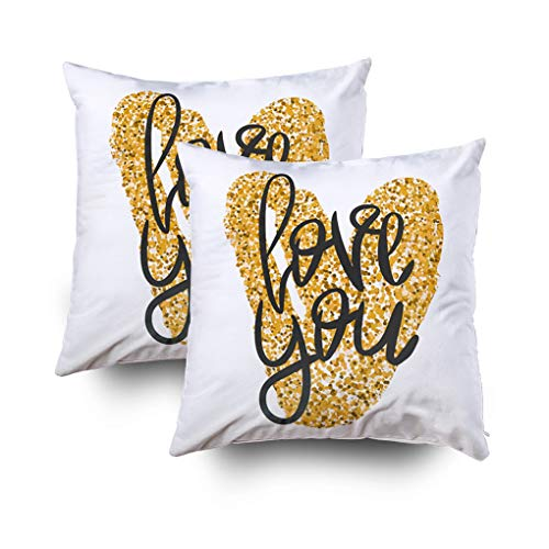Musesh Pack of 2 Romantic Poster with Black Handwritten Phrase Love You and Gold Glitter Handdrawn Heart Cushions Throw Pillow Ccovers for Sofa Home Decorative Pillowcase 18X18Inch Pillow Covers ()