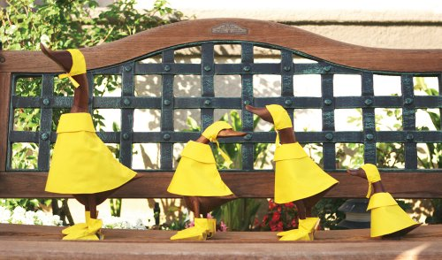Bamboo Rain Duck Family Set of 2, Natural Hand Carved Bamboo Root Wood Raincoat Duck Figure Statue, Indoor/Outdoor Garden Decor Ornament, Unique Gift Idea by Garden Age Supply (Image #2)