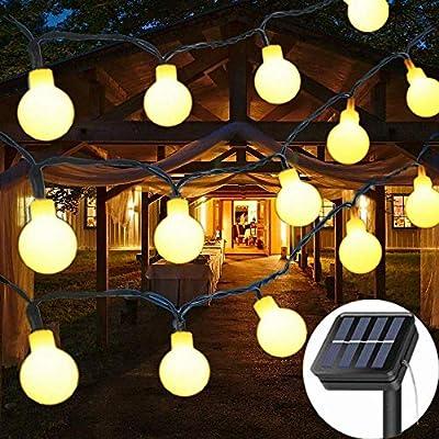 Solar String Lights Garden, 8 Modes 50 LED Globe String Lights Outdoor Solar Powered Fairy Lights Waterproof Mini Ball Decorative Light for Garden Patio Yard Home Wedding Party